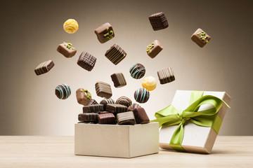 mix of chocolates jumping f...