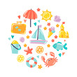 Summer holiday vector colorful icons in circle on white. Set for events and sea vacation. Sun, umbrella, sand castle, starfish, fish, lifebuoy, lemon, crab, travel case, icecream, cocktail, boat.