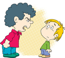 Quarreling Kids. Angry Boy Sho...