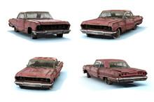 Set Of 3d-renders Of Old Rusty Muscle Car