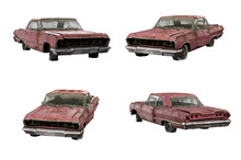 Set Of 3d-renders Of Old Rusty Muscle Car