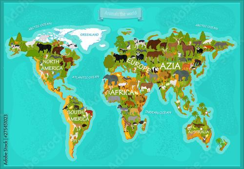 Fototapeta mapa świata dla dzieci  mapa-zwierzat-swiata-z-nazwami-kontynentow