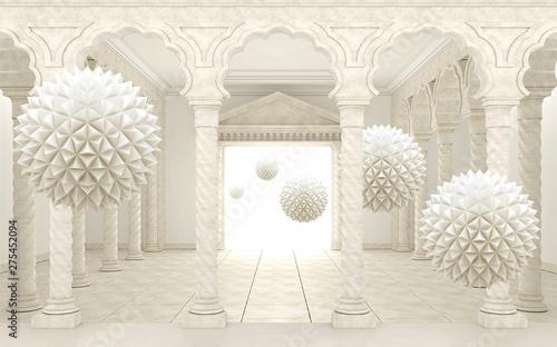 3d interior palace wallpaper background beige 3d balls