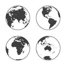 Black Earth Globe In Line Art Style In Four Turns On White Background. North And South America, Eurasia And Africa, Atlantic, Australia In Rotations. Vector Illustration