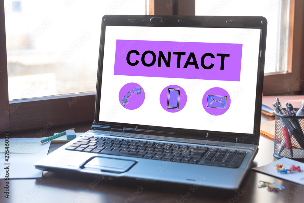 Fototapety, obrazy: Contact concept on a laptop screen