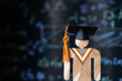 Education world, study learning achievement success in abroad global ideas. Graduation cap on  people models on formula equation blackboard background. Congratulation in university