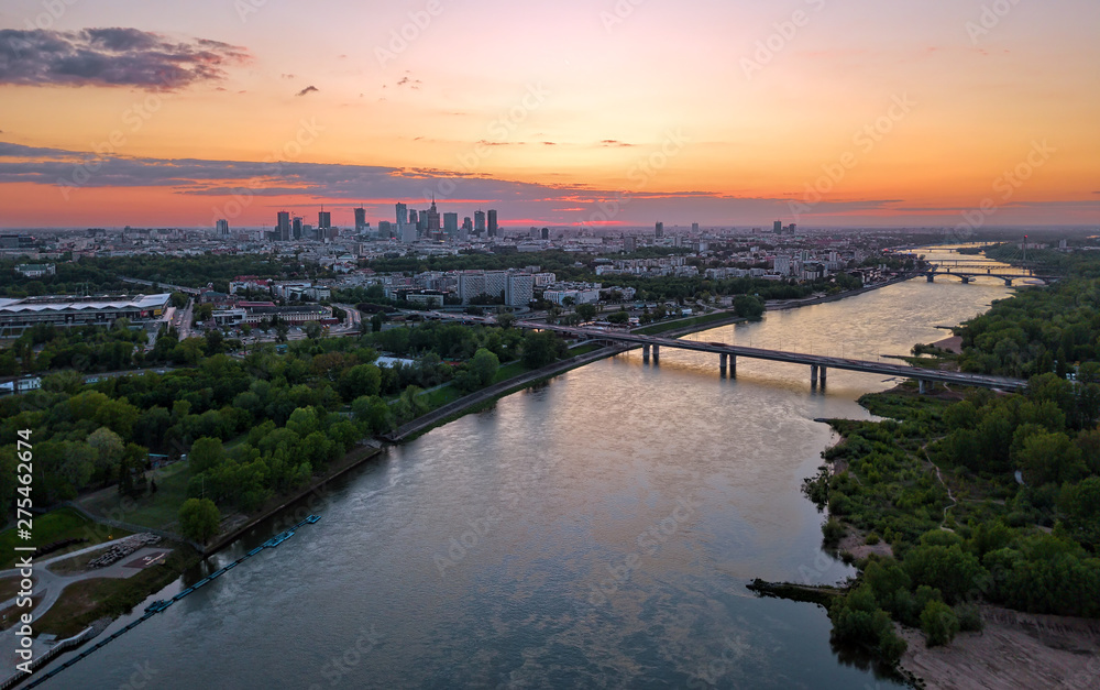 Fototapety, obrazy: Aerial view of Warsaw at sunset