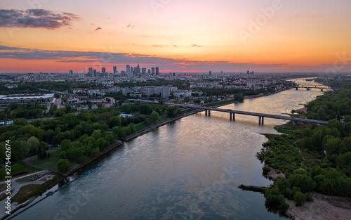 Fototapeta Aerial view of Warsaw at sunset obraz