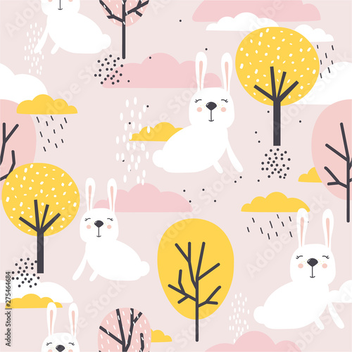 Seamless pattern, rabbits, trees and clouds, hand drawn overlapping backdrop. Colorful background vector. Illustration with animals. Decorative wallpaper, good for printing