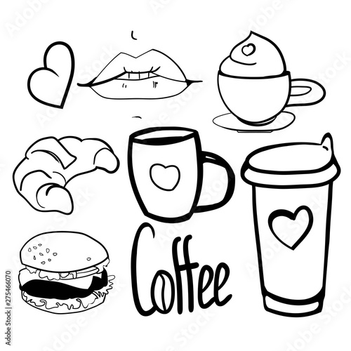 Set of coffee break drawings, fragrant morning coffee for breakfast