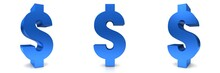 Dollar Sign 3d Symbol Icon Blue