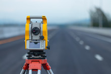 Theodolite In Construction,Lan...