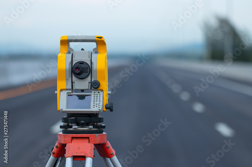 Photo Theodolite in construction,Land surveying and construction equipment, Survey equ