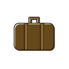 Line Art Vector Illustration Of Vintage Old Fashioned Leather Suitcase Travel Trunk With Straps. Offset Effect Coloring. Brown Beige Color Palette. Icon Logo Sticker . Traveling Accessories Concept