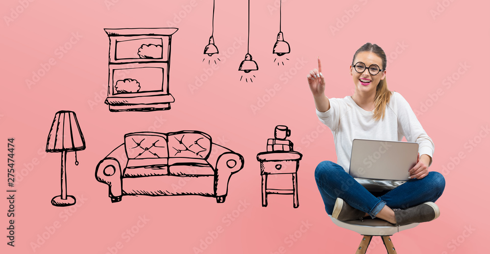 Fototapety, obrazy: New apartment dream with young woman using her laptop