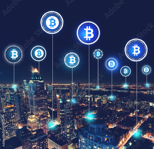 Canvas Prints Countryside Bitcoin theme with aerial view of Manhattan, NY skyline