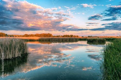 Fototapeta Jezioro laguna-en-el-parque-nacional-de-las-tablas-de-daimiel-ciudad-real-espana