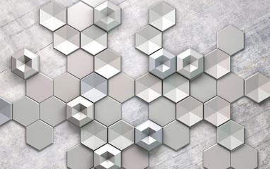 FototapetaAbstract grayscale hexagon pattern design background wallpaper 3d metal wallpaper