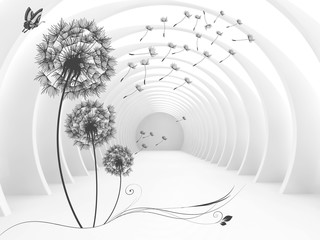 FototapetaIllustration of 3D crystall ball silhouettes of dandelions pattern on decorative silver background 3D wallpaper and tunnel