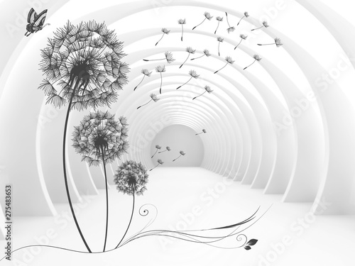 Obraz Illustration of 3D crystall ball silhouettes of dandelions pattern on decorative silver background 3D wallpaper and tunnel - fototapety do salonu