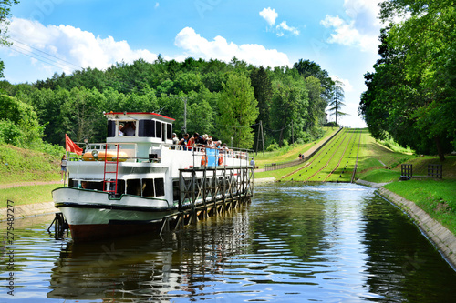 Fotografia, Obraz Statek na Kanale Elbląskim, Polska