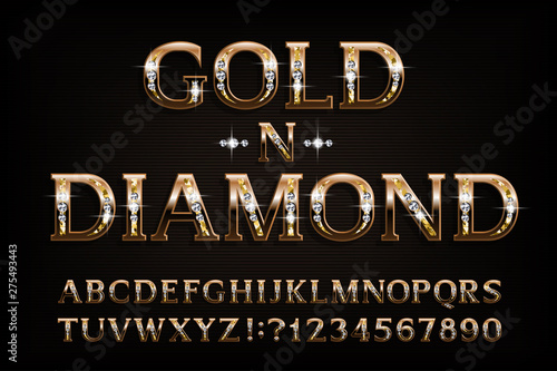 Obraz Gold n diamond alphabet font. Serif golden letters and numbers with diamond gemstone. Stock vector typescript for your design. - fototapety do salonu
