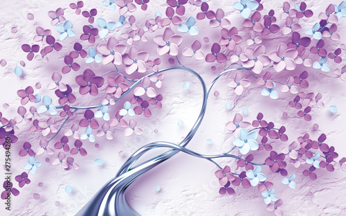 3d wallpaper pink and purple branches flowers and butterfly with bricks - fototapety na wymiar