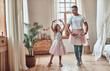 canvas print picture - Father and daughter at home