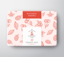 Cherry Bath Soap Cardboard Box. Abstract Vector Wrapped Paper Container With Label Cover. Packaging Design. Modern Typography And Hand Drawn Berries Background Pattern Layout.