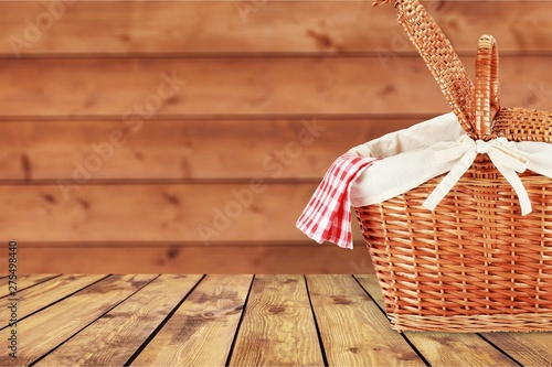 Picnic Basket with napkin om nature background