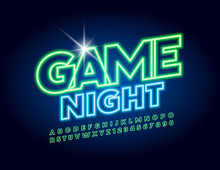 Vector Bright Neon Banner Game...