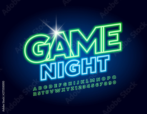 Fototapeta Vector bright neon banner Game Night. Uppercase glowing Font. Green electric Alphabet Letters and Numbers obraz