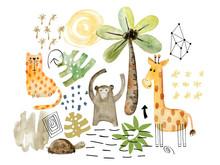Watercolor Safari Arrangements.