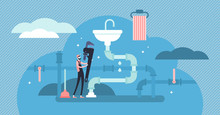Plumber Occupation Vector Illustration. Flat Tiny Repair Persons Concept.