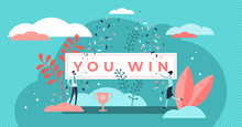 You Win Title Banner Vector Il...
