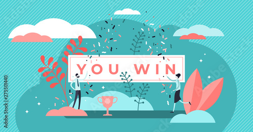 Fotografiet  You win title banner vector illustration