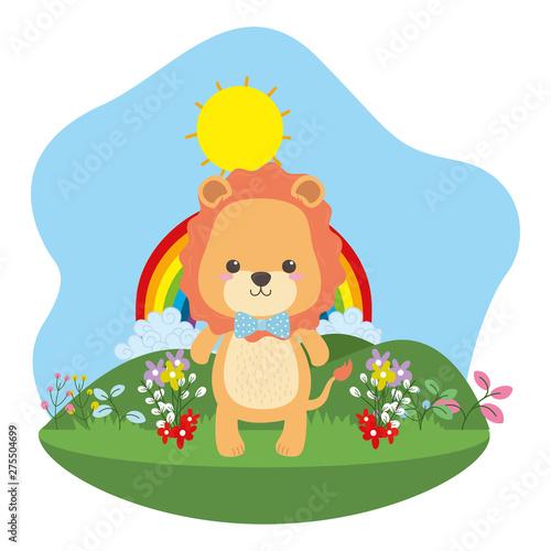 Poster Magic world Lion cartoon with bowtie design