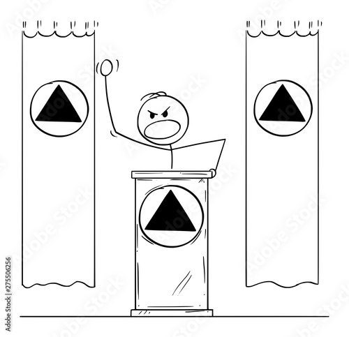 Obraz na plátně Vector cartoon stick figure drawing conceptual illustration of rude aggressive man or dictator speaking or having speech to public or followers on podium or behind lectern