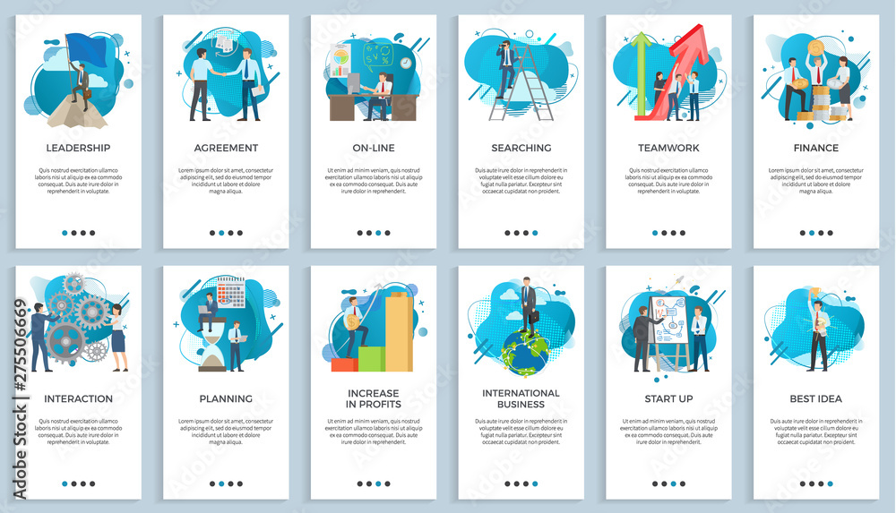 Fototapeta International business vector, startup businessman do presentation of board best idea and solution of project problems, teamwork and increase in profits. For business website or app slider flat style