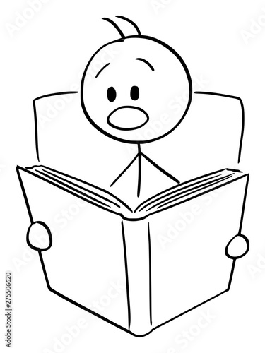 Vászonkép Vector cartoon stick figure drawing conceptual illustration of shocked or frightened man reading shocking or scary book