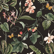 Leinwanddruck Bild - Watercolor tropical seamless pattern