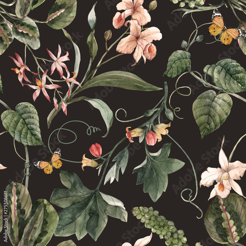Poster Artificiel Watercolor tropical seamless pattern