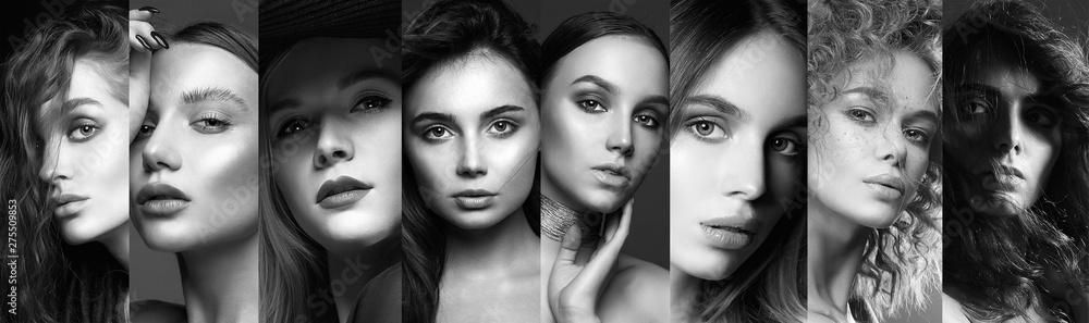 Fototapeta Different beautiful models. black and white collage