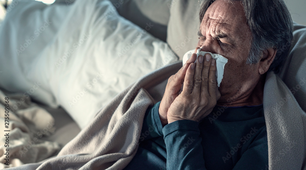 Fototapety, obrazy: Senior man suffering from cold