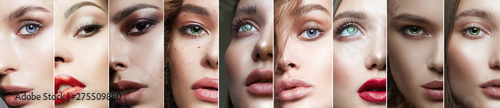 Photo Different female eyes. collage of beautiful women