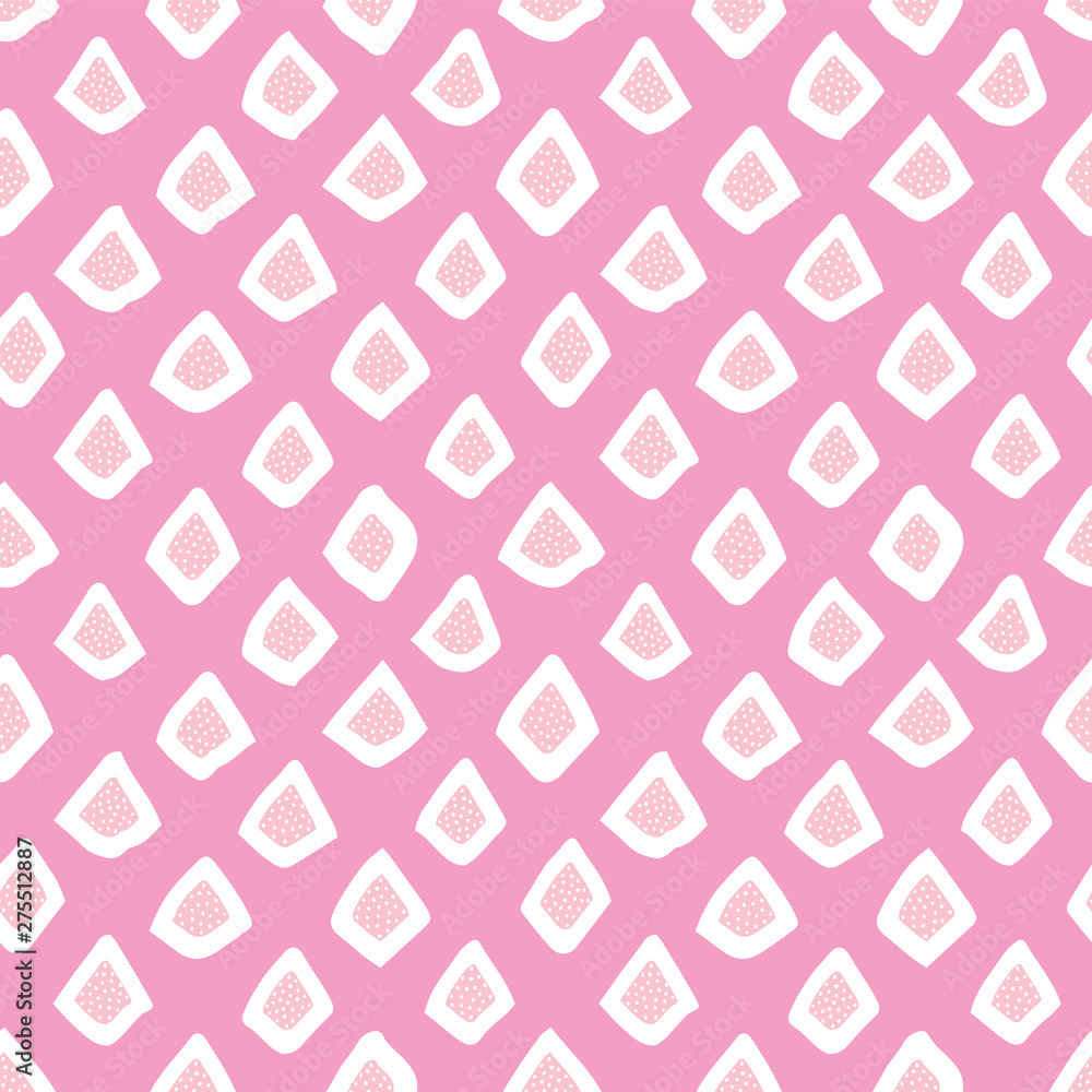Cute seamless vector geometric background in pink and white. Scandinavian style, hand drawn design for girls fashion, Birthday, wallpaper, cards, textiles, gift wrapping paper, surface textures.
