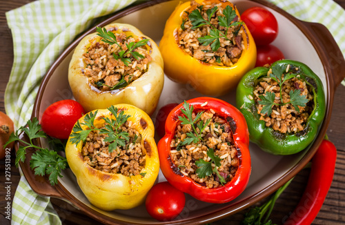 Stampa su Tela Stuffed peppers with meat and rice