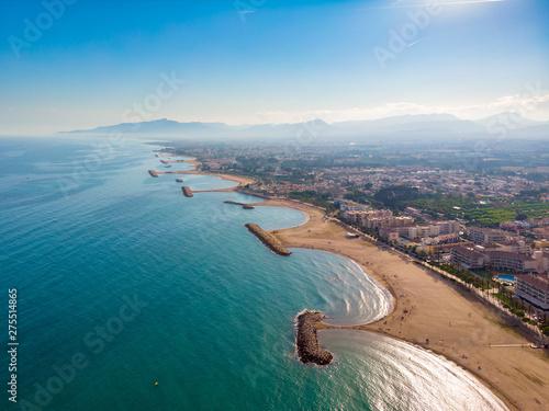 View of the coastline Costa Dourada, Catalonia, Spain. Drone aerial photo