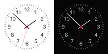 Set Of Realistic Illustration Of A Black And White Clock Face With Numbers And A Clock And A Red Center. Isolated On Background, Vector