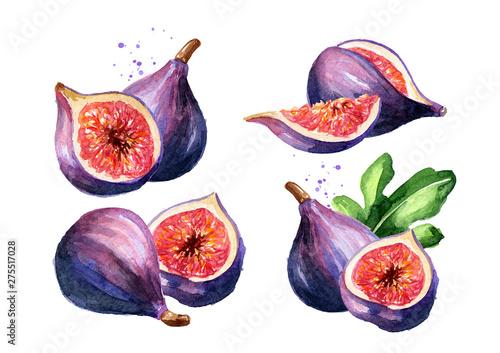 Fotografia Fresh ripe purple fig fruit set